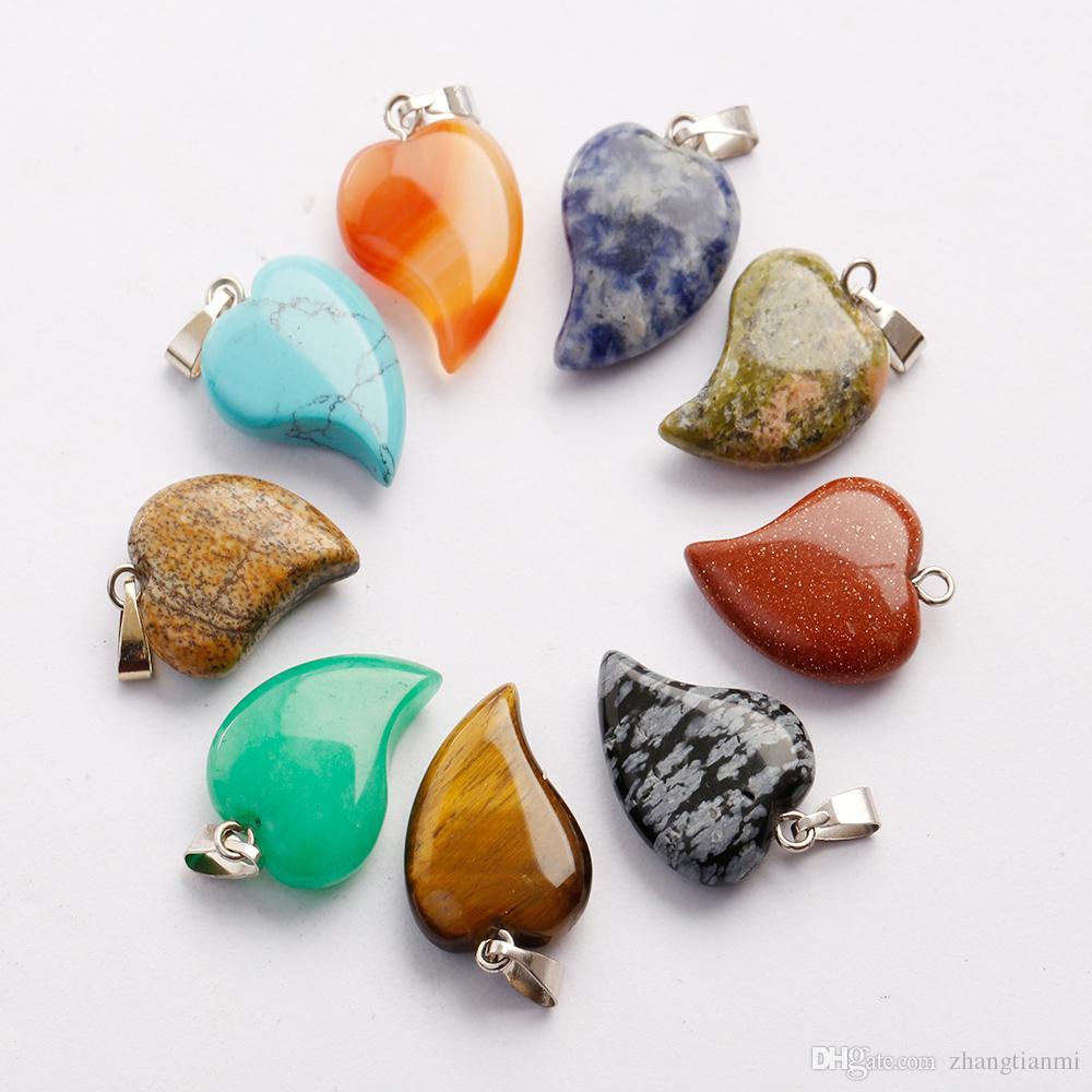 حار جميل ملتوية الحب القلب شكل حجر المعلقات مختلط كريستال كوارتز شفاء سحر قلادة لصنع المجوهرات قلادة أقراط مجانية