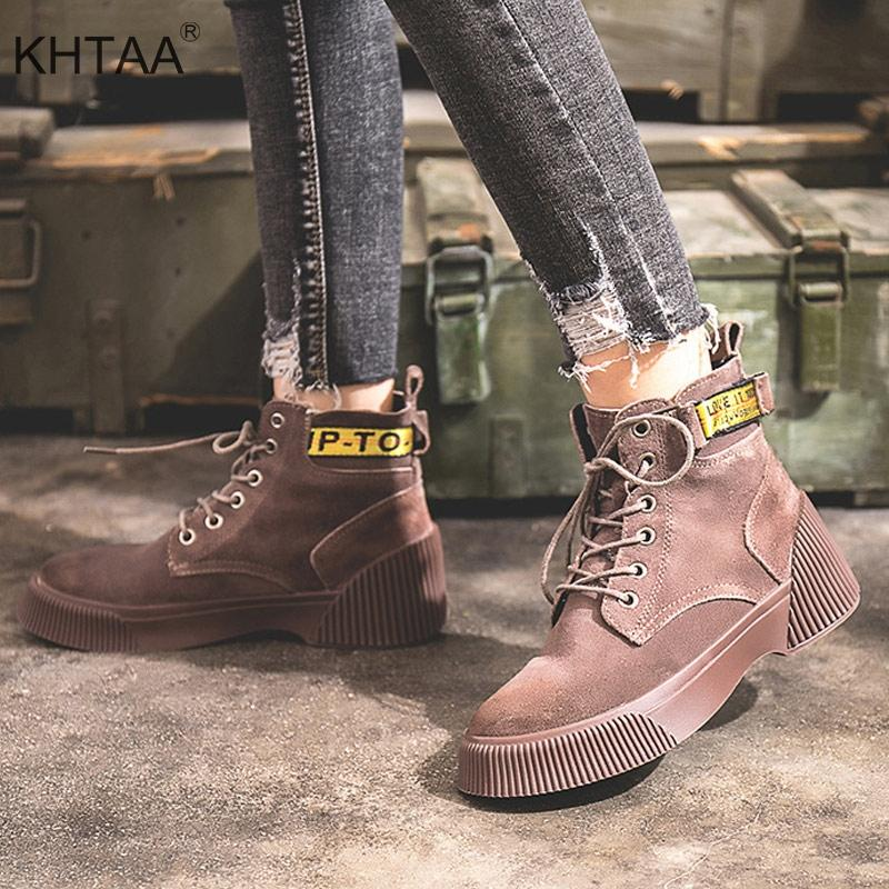 60a1505bb844e Women Ankle Boots Flat Platform Lace Up Winter Warm Fashion Ladies Shoes  2018 New Autumn England Student High Top Footwear Boots For Men Girls Boots  From ...