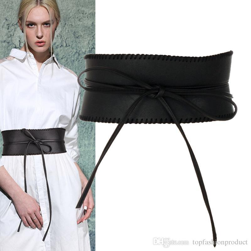 34eb1a6018 Women Belt Wide PU Belt Ladies Elastic Belts With Ties Dress Belt Top  Fashion Leather Sash Skirt Belts Western Belts Mens Leather Belts From ...