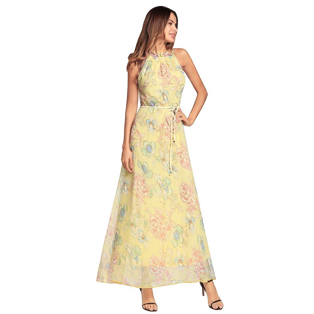 9211e7247d3d 2019 Fashion Floral Print Chiffon Maxi Dress Women Halter Neck Sleeveless  Summer Beach Boho Long Dress Casual Vestido Longo 2018 From Matilian, ...