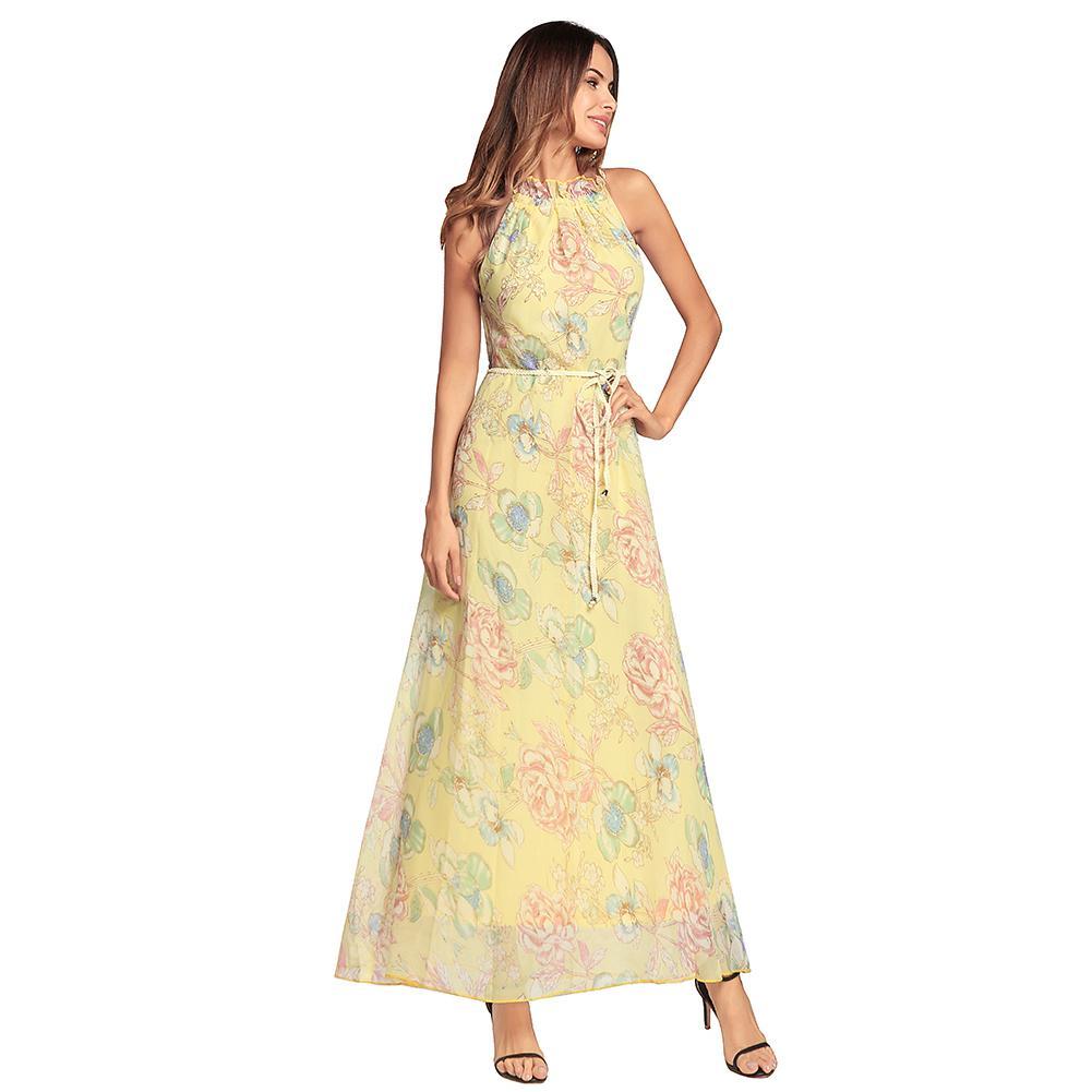 702bccf78 Compre Moda Floral Estampado De Gasa Maxi Vestido De Las Mujeres Del Cuello  De Cuello Sin Mangas Summer Beach Boho Vestido Largo Vestido Longo 2018 A   29.22 ...