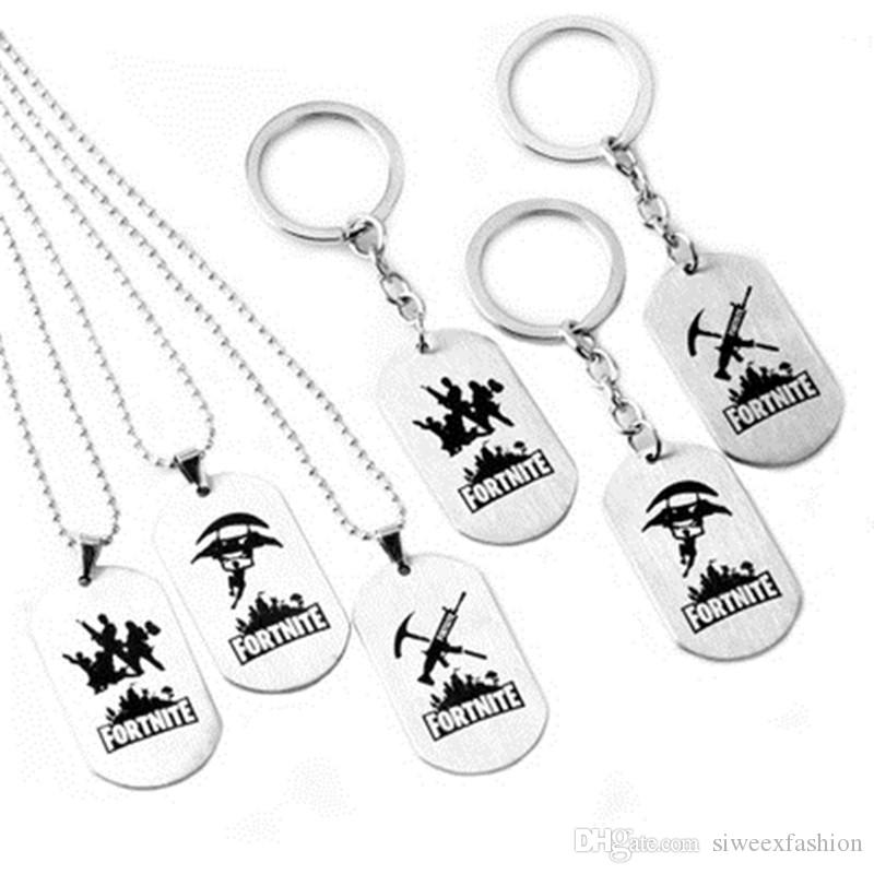 FPS Game Fortnite Battle Royale Keychains Necklace Stainless Steel Keyring  Tag Pendant Key Holder Accessorices 6 Styles
