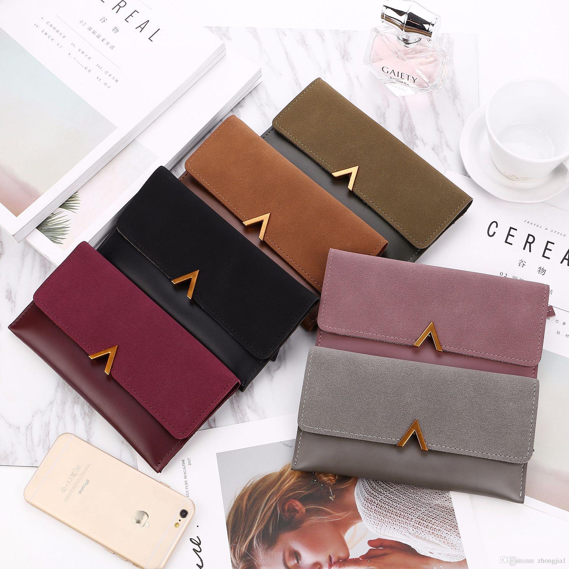 2018 New Female Wallet Leather Women Wallet Change Long Design Hasp ... db6e350e71b4