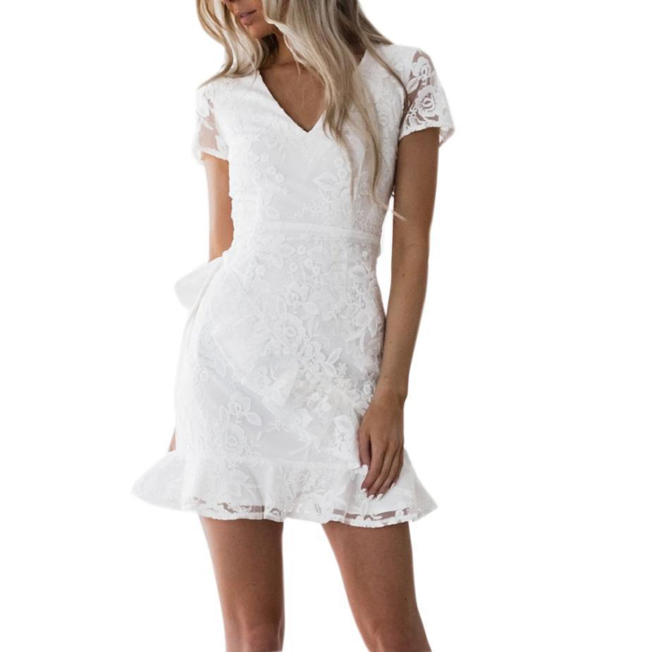 e70dcad8cc8d7 Women Sexy Mini Dress Ruffled Hem White Lace Dresses Transparent Backless  Tie Waist Short Sleeve Summer Dress #VE
