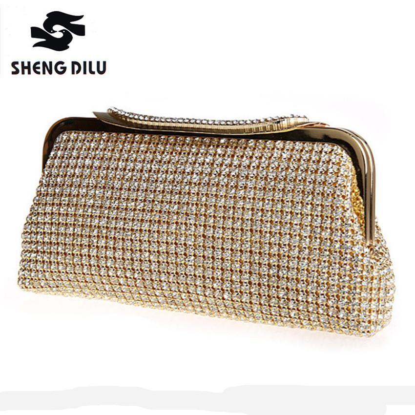 Women Golden Day Clutches Shinny Diamond