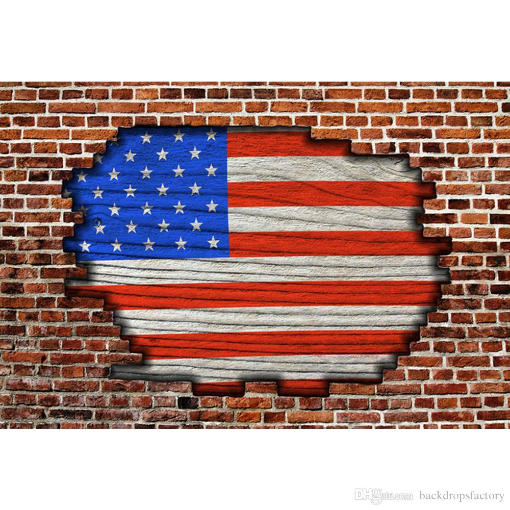 broken brick wall american flag backdrop photography newborn baby
