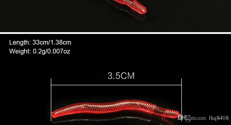 INFOF /pack Finesse Worm Soft Baits 3.5cm/0.2g Soft Fishing Lure Bass Carp Fishing Bait Artificial Earthworms