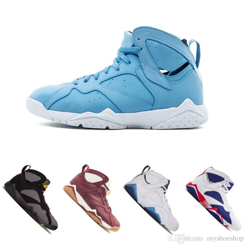 eab8e41d4c03cb 2019 Cheap Top 7 Basketball Shoes Men Women 7s VII Purple UNC Bordeaux  Olympic Panton Pure Money Nothing Raptor N7 Zapatos Trainer Sport Shoe From  ...