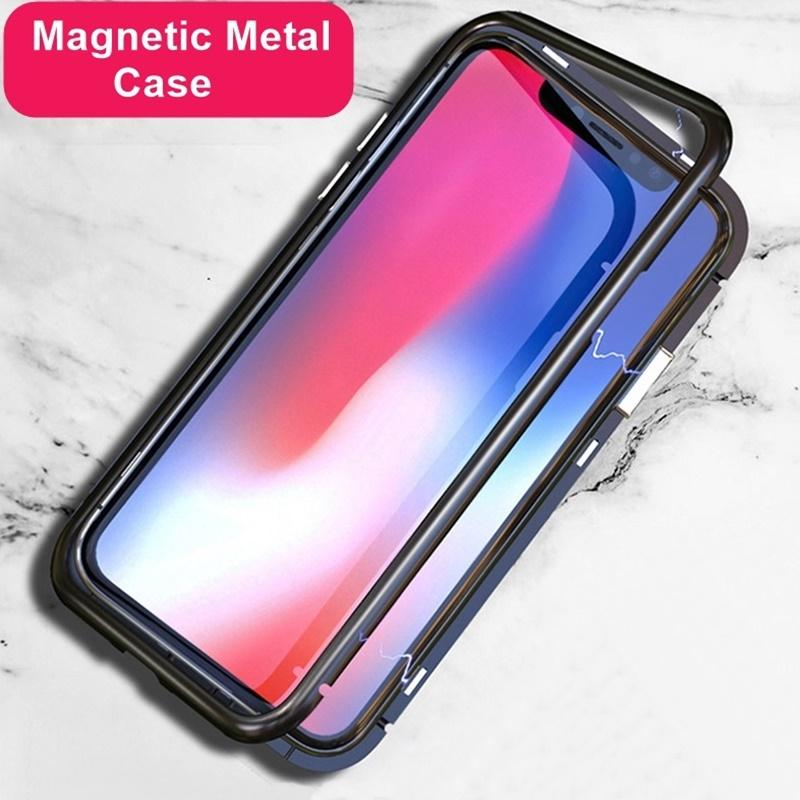 ccd9bfbc8b5 Magnetic Adsorption Tempered Glass Case For IPhone X Luxury Ultra Tough Case  Support Wireless Charge For IPhone 7 8 7 Plus Protective Cell Phone Cases  Reiko ...