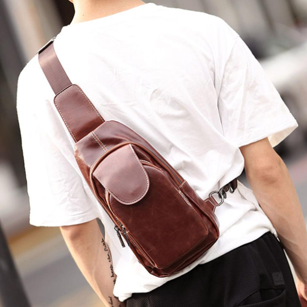 Men Vintage Crazy Horse PU Leather Sling Chest Bag Leisure Mountaineering Cross  Body Shoulder Messenger Pack Brahmin Handbags Messenger Bags For Women From  ... 31cd80487a0f6