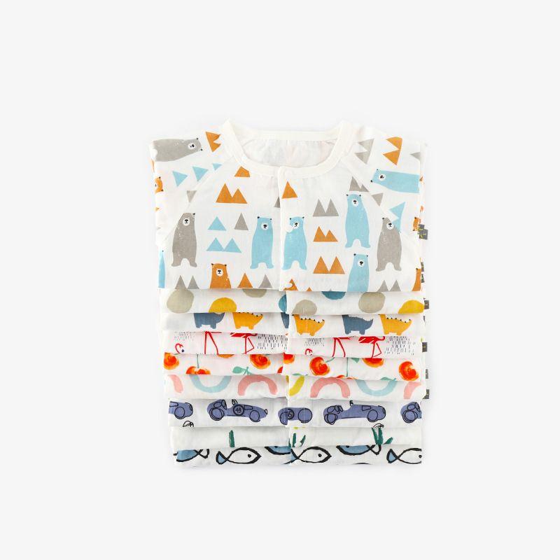 2018 Ins Newborn Infants clothing Jumpsuit Onesies Flamingo Bear Dinosaur Car Prints 100% Cotton Gauze 0-18M