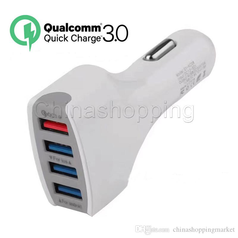 4USB Car Charger 7A QC 3.0 Adaptive Fast Charging Home Travel Charge Plug Cable USB Cable For Mobile Phone with Retail Package