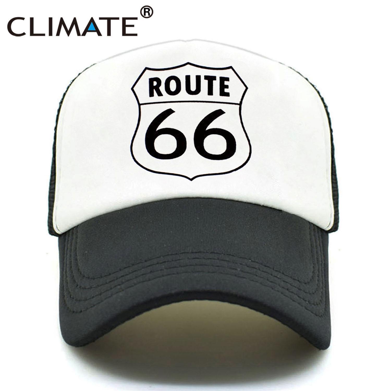 0ceca32e3e1 CLIMATE Men Women New Summer Trucker Caps ROUTE 66 Cool Summer Black Adult  Cool Baseball Mesh Net Trucker Caps Hat For Men Adult Visors Millinery From  ...