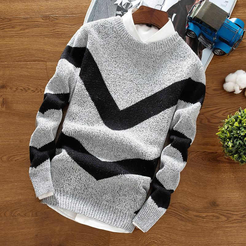 9aad7c7c1bad Autumn Winter Sweater Men s Round Neck Solid Color Matching ...