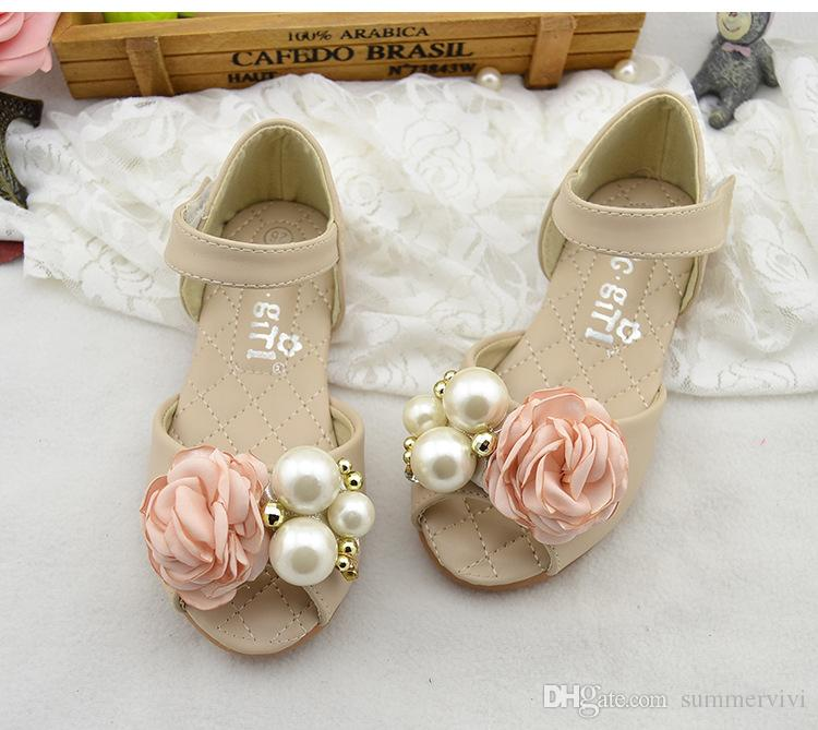 Girls pearls sandals fashion Children falt bottom sandals beaded stereo flowers princess shoes girls wedding party sandals size 24-34 Y4213