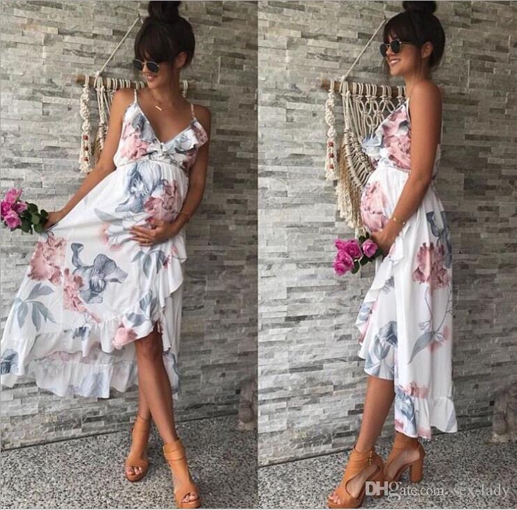8572cf44fff2 Acquista Abito Di Maternità Con Scollo A V Moda Casual Floreale Falbala  Abito Di Gravidanza Abbigliamento Premaman Abbigliamento Estivo Abito  Floreale A ...