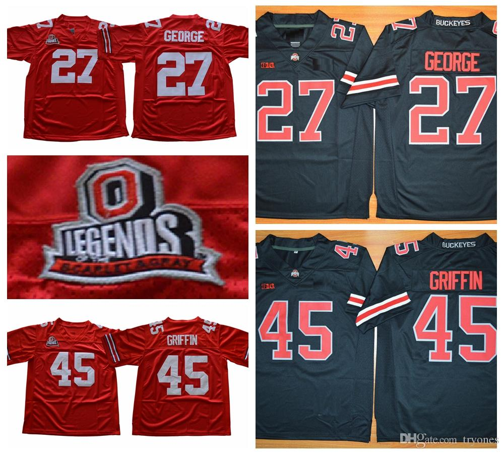 2019 Mens Vintage Ohio State Buckeyes 27 Eddie George 45 Archie Griffin  College Football Jerseys Legends Cheap University Stitched Football Shirt  From ... 64a9299d5