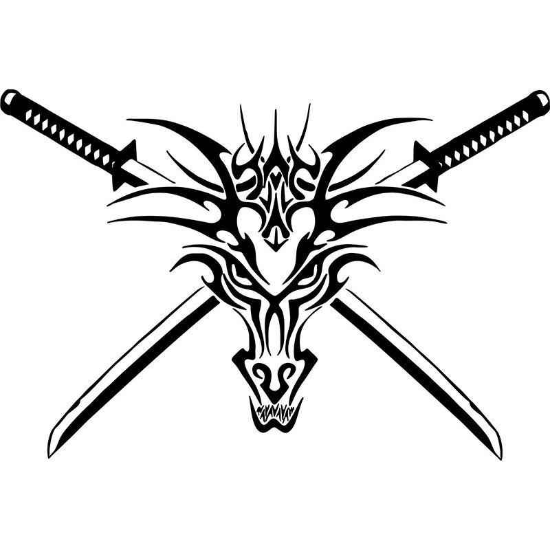 2018 tribal dragon head sword creature car truck window laptop vinyl