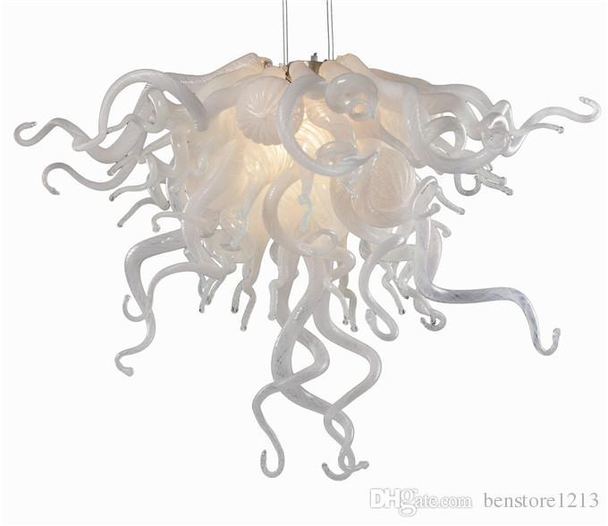 Lamp 100% Hand Blown Glass Pendant Chandeliers Murano Hanging Pendant-Lamps Multicolor 20inches LED Home Lights for Living Room