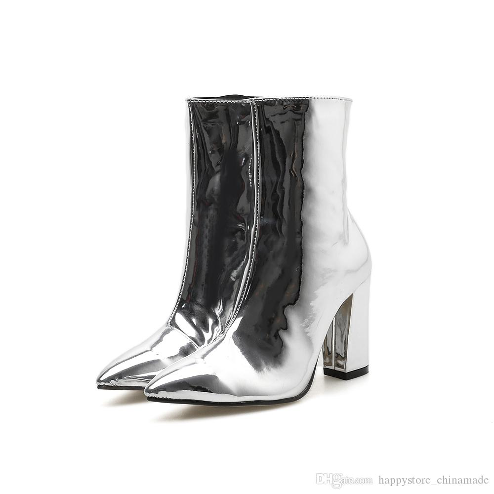 2018 Autumn Women S Boots Fashion Silver Patent Leather Ankle Boots Sexy  Thick High Heel Booties Pointed Toe Female Boots 532 Winter Boots Over The  Knee ... 8c9511fd5c8a
