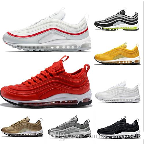 7f4bf893572dfb 2019 Classic 97 Women Men Running Shoes 97s Cushion White Red ...