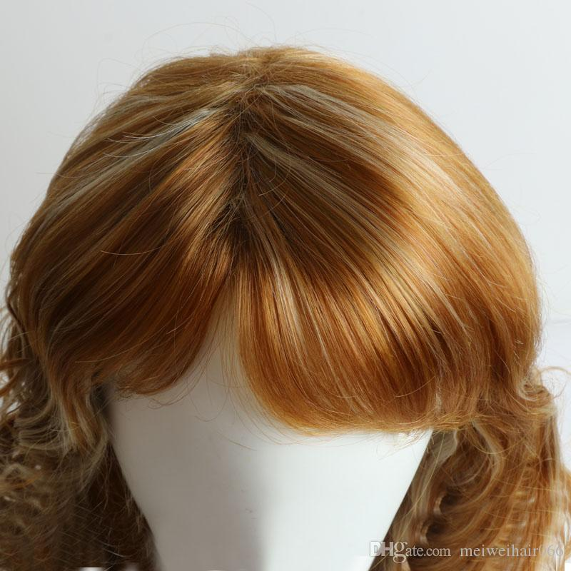Long Synthetic Hair Wigs for Black/White Women Ladies Wavy Synthetic Wig with Bangs Cosplay Wigs African American Brown Wigs
