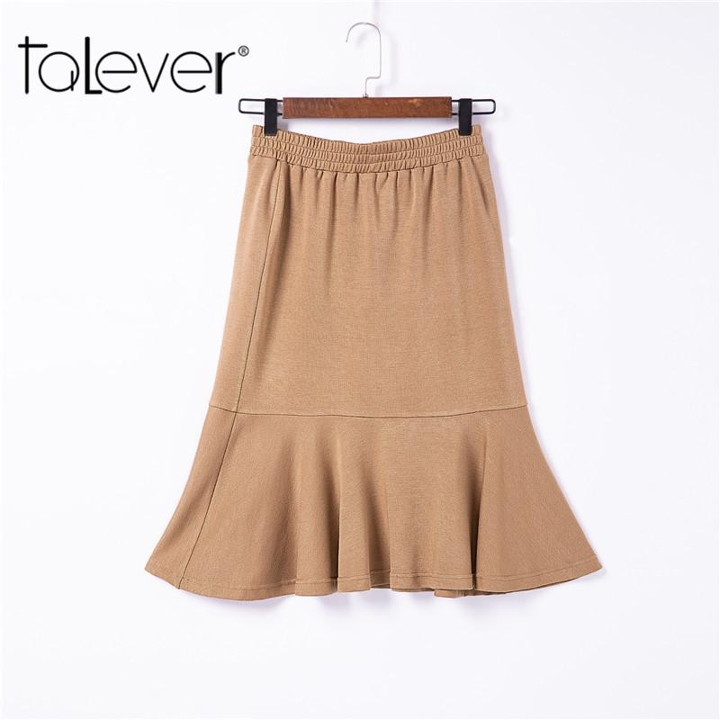 a70a00ee6f6 2019 Women Sexy Bodycon Mermaid Midi Skirt Lady Elastic Waist Ruffles Solid  Khaki Cotton Skirt Women Casual Skirts Plus Size Talever From Bunnier