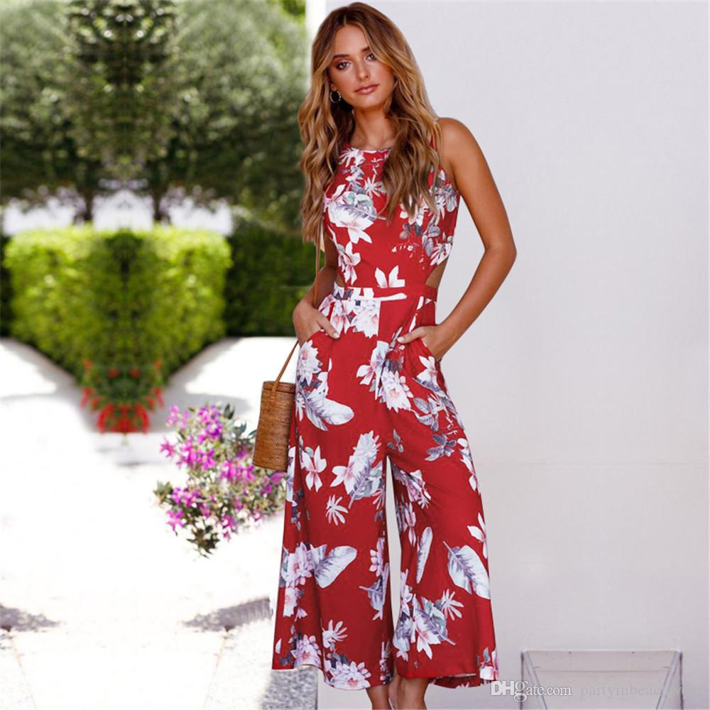 df9fd40c87a1 2019 Summer Fashion Jumpsuits Rompers Women Boho Floral Print Overalls Sexy  Long Bodysuit Jumpsuit Beach Bohemian Holiday Seaside Playsuit New From ...