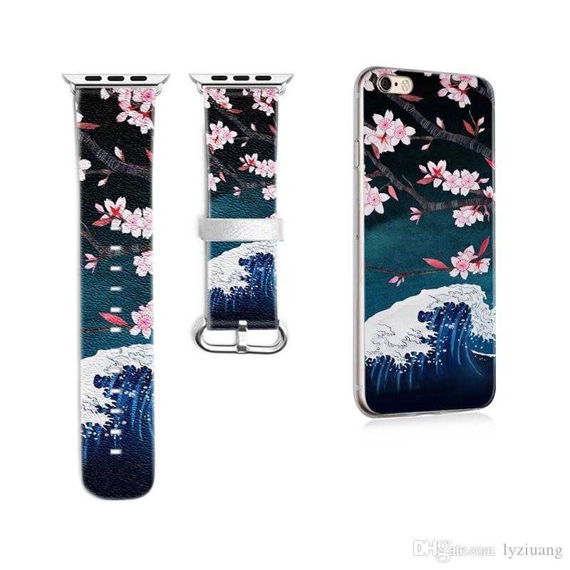 Cherry Blossoms Pattern Band for Apple Watch 38mm 42mm Band for Iwatch Series 1 2 3 Strap Genuine Leather Gift for IPhone Case