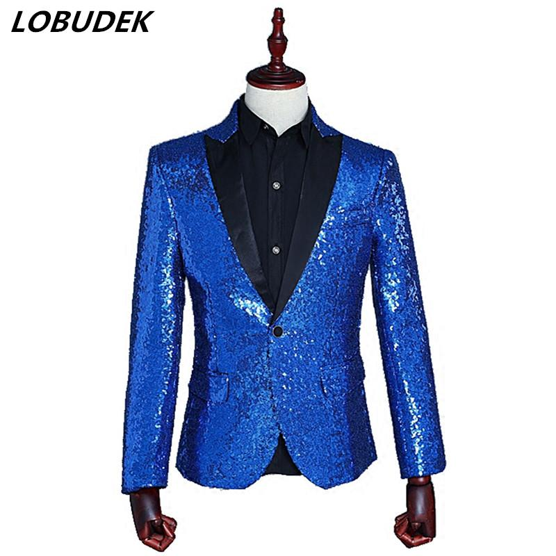 Sparkling sequins Men's suit jacket slim blazers coat Nightclub singer Costume prom Bar Host star stage performance clothes