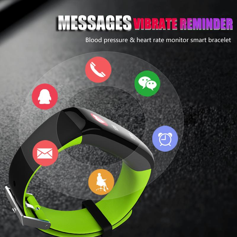 Smart Band P1 Plus Bluetooth Heart Rate Monitor Blood Pressure Call/APP  Message Reminder with 4 Clock Faces Smart band for Android iOS