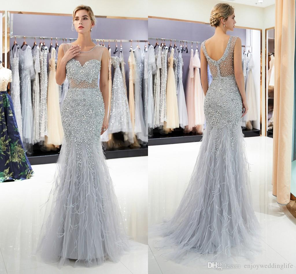 0cc395c080 Gray Mermaid Crystals Long Prom Dresses Crew Neck Sleeveless Tulle Feather  Evening Celebrity Gowns Major Beading Formal Party Wear Formal Dress Stores  ...