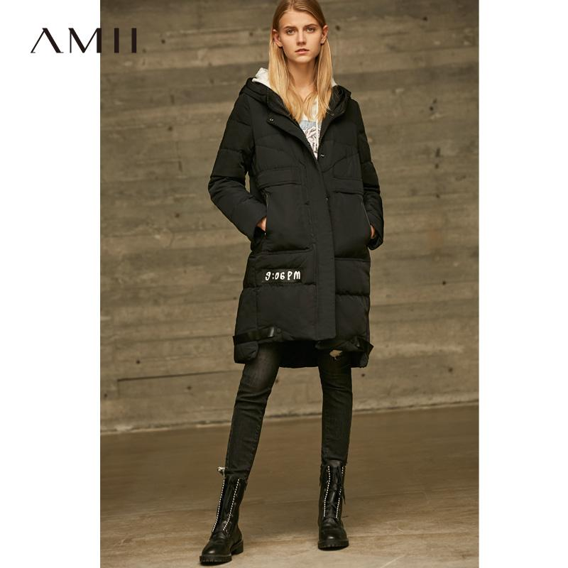 2ff58e0287f7 2019 Amii Minimalist Hooded Long Down Jackets Women Winter Thick 2018  Causal Solid Spliced 90% White Duck Down Coat From Erzhang, $186.53 |  DHgate.Com