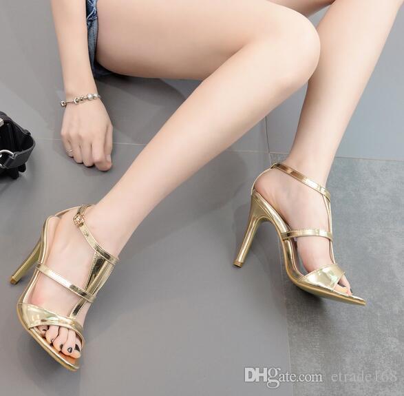 Европейская американская мода новая женская обувь T-пояс сексуальный штраф с высоким каблуком Золотой женская обувь Бесплатная доставка