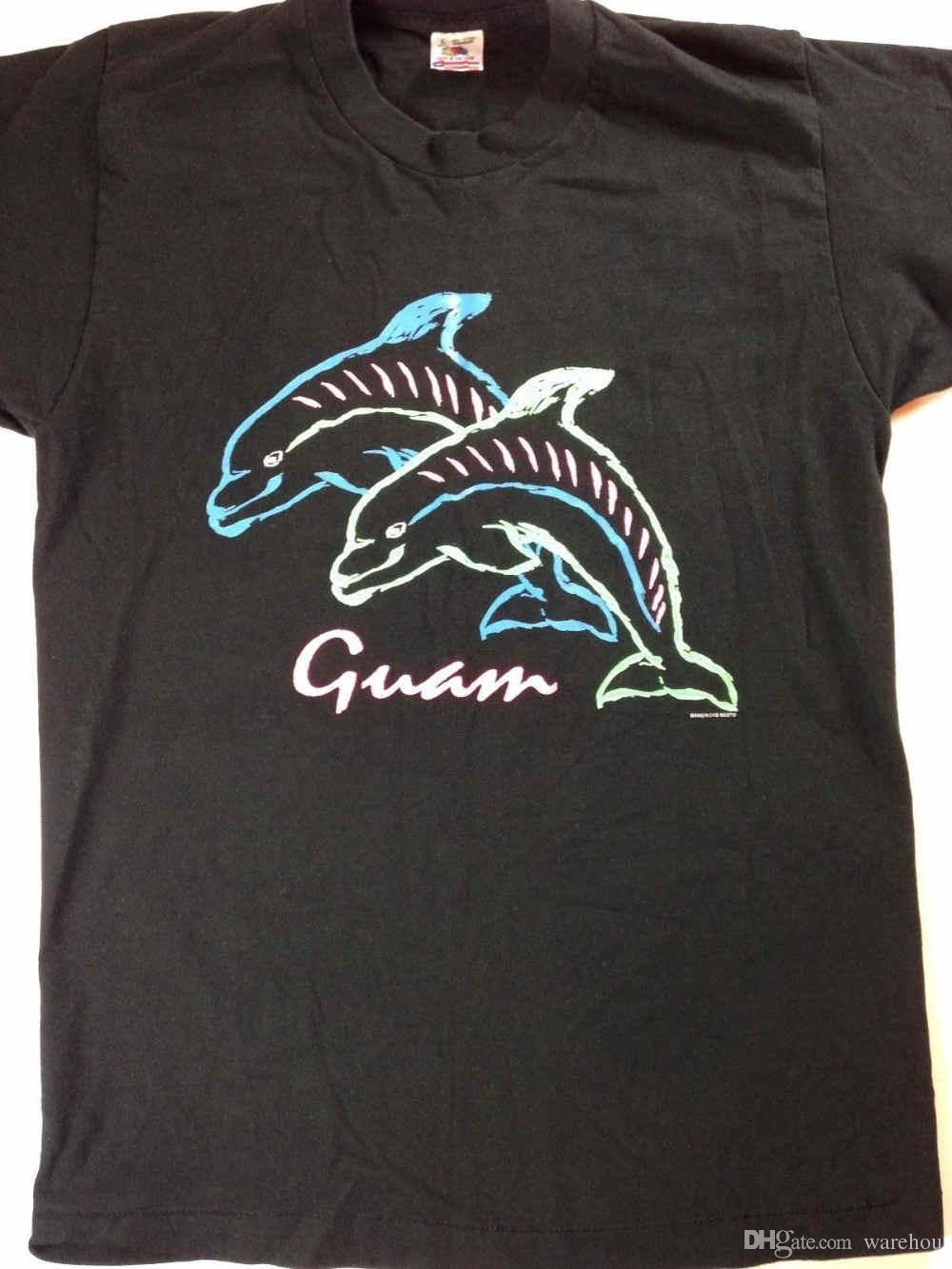Neon Dolphins T Shirt VTG Guam Mens Large Fruit Of The Loom USA Made 90s Cotton Newest Funny Really Cool Sweatshirts Following Shirts From Liguo0027