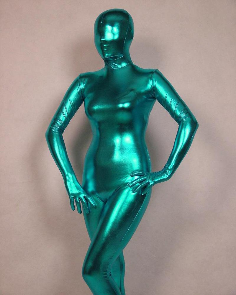 Cosplay Sea Blue Full Body Spandex Latex/Rubber Zentai Suit Catsuit Fancy Dress Custom Size