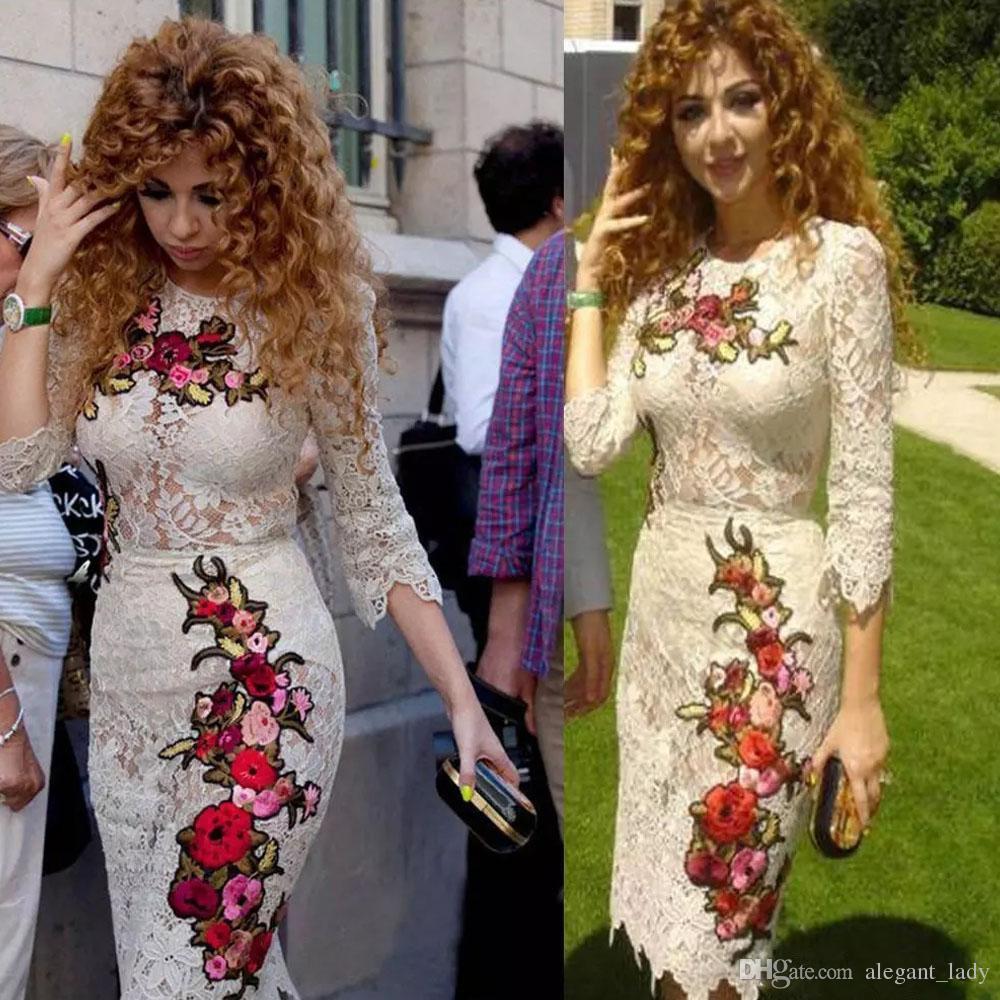 Myriam Fares Vintage Knielange Cocktailkleider mit Ärmeln 2018 Retro Jewel Mantel Floral Stickerei Kurze Ballkleider