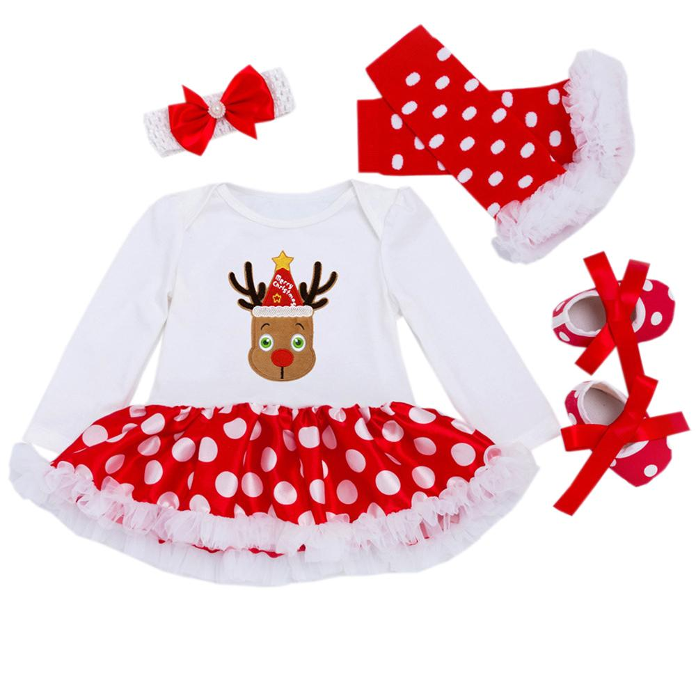 5f72c553c7a6 Newborn Clothes Baby's First Christmas Costumes Party Dress Infant Girl Clothing  Baby Girl Reindeer Cosplay Xmas Gift Bebes Sets