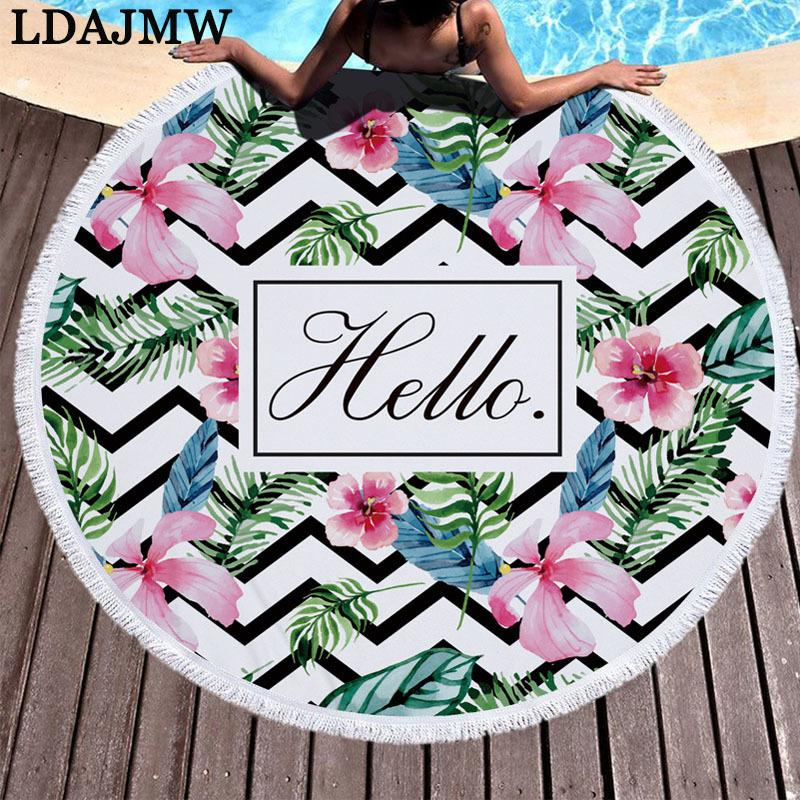 Wholesale Printed Microfiber Large Round Beach Towel With Tassel