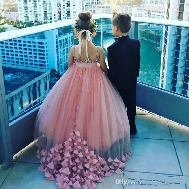 2018 Flower Girls Dresses Princess Dusty Pink Petal Applique Crystal Spaghetti Straps Floor Length Tulle Kids Birthday Girls Pageant Gowns