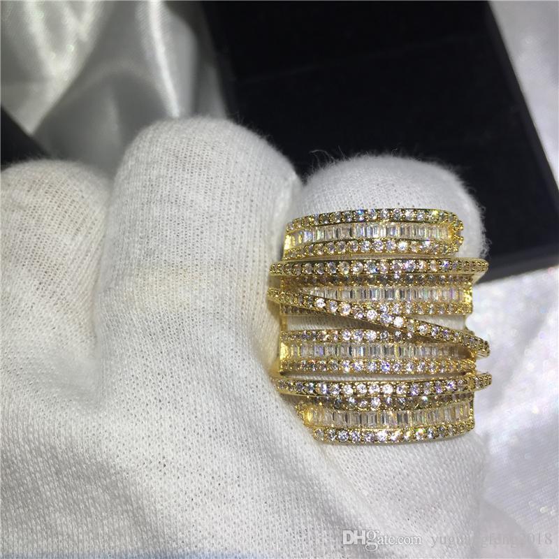 Lüks Büyük yüzük Sarı Altın Dolu Nişan düğün band yüzük kadınlar için T şekli Elmas kristal 925 gümüş Bijoux Hediye