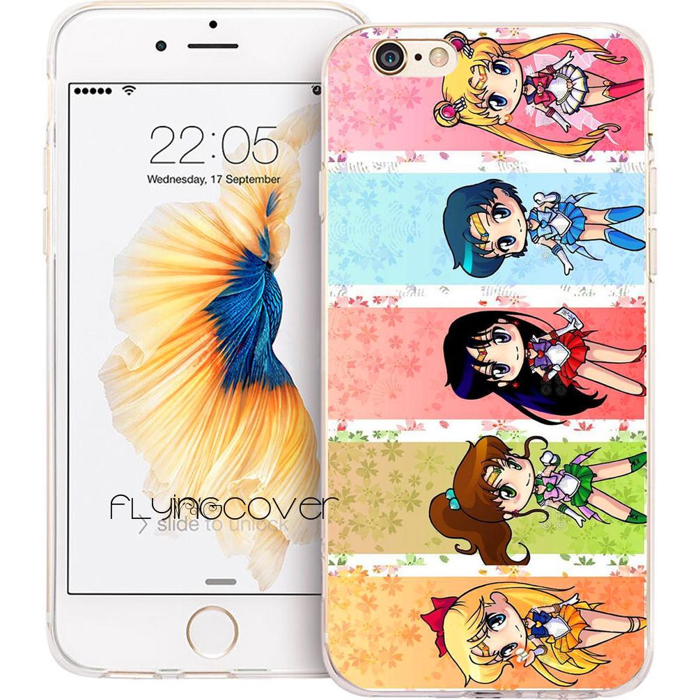 free shipping 437fc 5ba19 Sailor Moon Crystal Clear Soft TPU Silicone Phone Cover for iPhone X 7 8  Plus 5S 5 SE 6 6S Plus 5C 4S 4 iPod Touch 6 5 Cases.