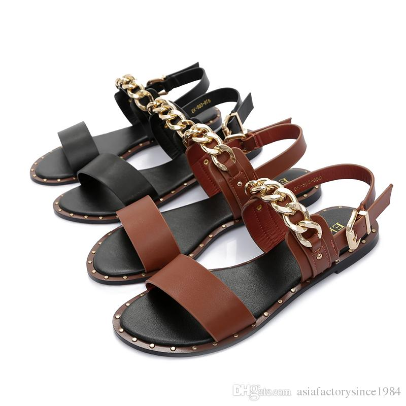 8219dc5098e1da New 2018 Fashion Leather Sandals Women Summer Ladies Dress Shoes ...