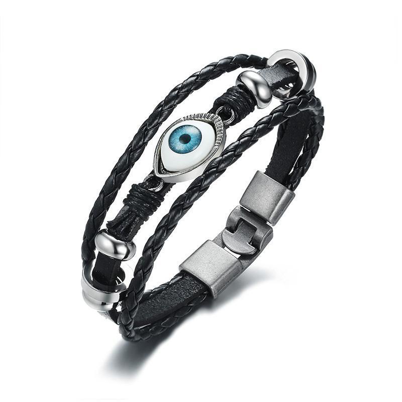 b017234ad875 Compre Pulsera De Cuero Negro Para Hombres 7.8 Retro Evil Blue Eye Charm  Bracelet Para Hombres Joyería De Regalo Para La Fiesta A  40.78 Del  Taihangshan ...