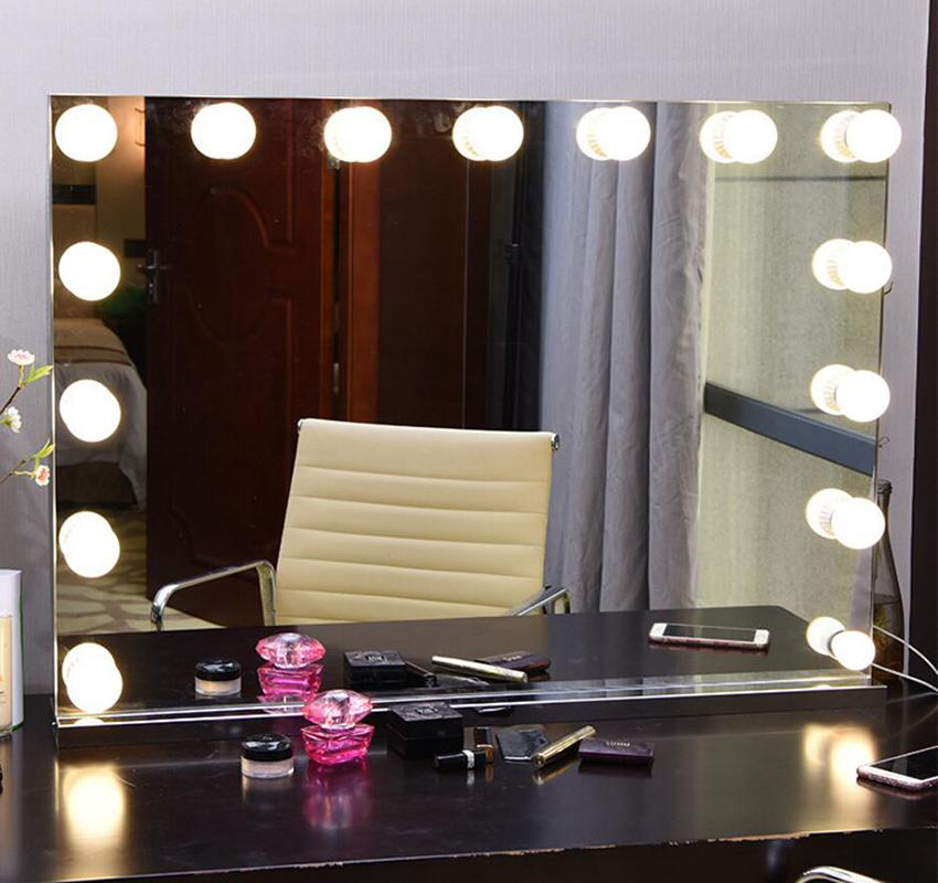 Frameless Vanity Mirror With Light Hollywood Makeup Lighted Mirror
