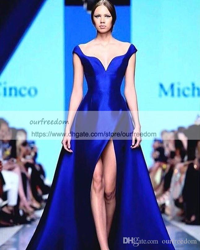 Michael Cinco Royal Blue Over Skirt Slit Evening Formal Dresses 2019 Matte Stain Dubai Arabic Off Shoulder Occasion Prom Gowns