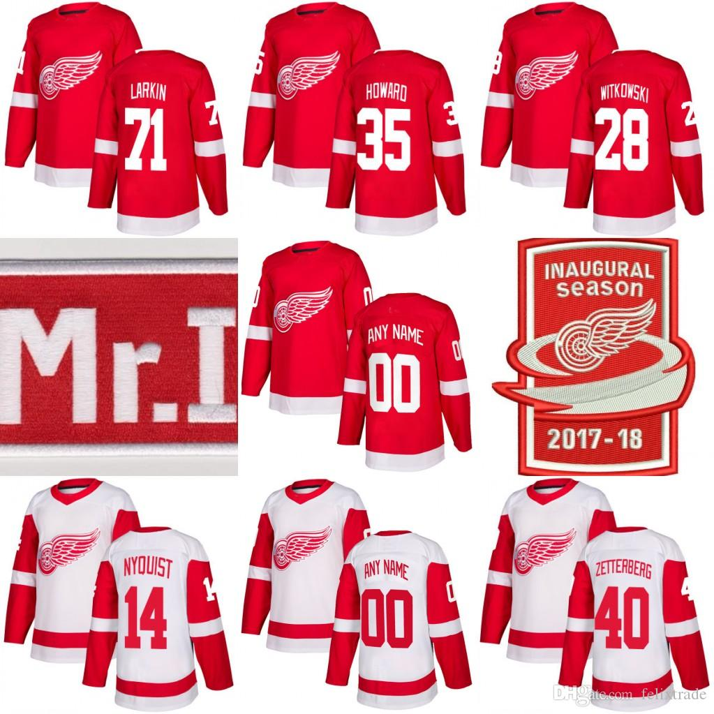 best service 873dd 56d79 2017-18 Detroit Red Wings (Stiched MR. I ,INAUGURAL Patch) Jersey 71 Dylan  Larkin 14 Gustav Nyquist 40 Henrik Zetterberg 35 Jimmy Howard