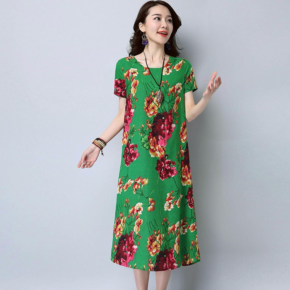97a9372ca6eb Vintage Women Cotton Linen Dress Floral Print O Neck Long Sleeve XXXL 4XL 5XL  Big Size Dress Casual Loose Retro Midi Dress 2018 Lulu Party Dresses 4  Evening ...