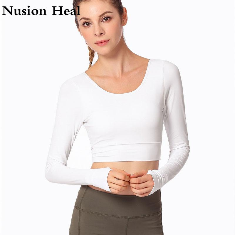 8f3be0865ae4f 2019 Yoga Shirts Padded Sports Bra Long Sleeve Shirts Patchwork Gym  Camouflage Black Crop Tops Mesh Fitness Running Sport T Shirts From  Huanbaoxin
