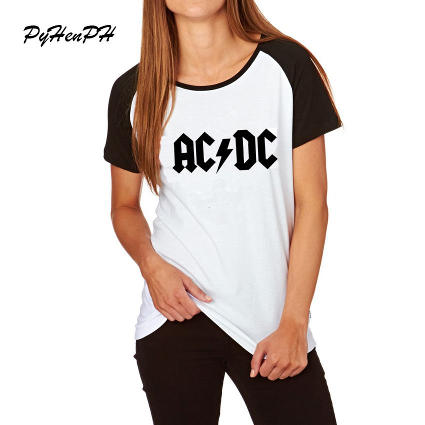 eeeeae1b9 Newest Fashion Women s Rock T-shirt Summer Hip Hop ACDC Black Letter Design T  Shirts Women Cool Rap Music Lady Short Sleeve Top